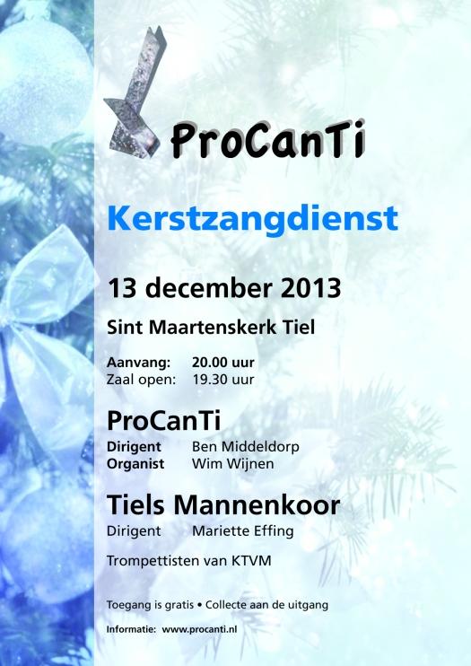 Poster ProCanTi kerstconcert 2013